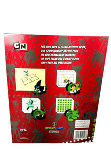 BEN 10 Wipe & Clean Amazing Activities Book(Puzzle Fun+Cross Word+Maze Mania+Word Search) - vezzmart