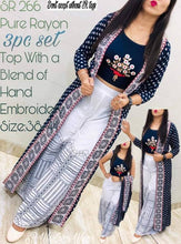 Load image into Gallery viewer, Gorgeous Navy Blue Embroidered Rayon Women Top Palazzo Set with Shrug - vezzmart