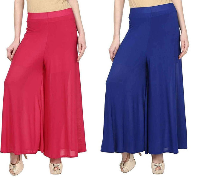 Women's Stretchy Lycra Wide Leg Palazzo Pants Pack of 2 - vezzmart