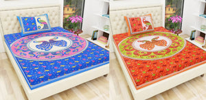 Jaipuri Printed Cotton Pack of 2 Singal Bedsheet With 2 Pillow Covers - vezzmart