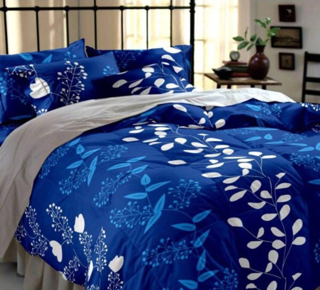 Beautiful Navy Blue Printed Polycotton Double Size 1 Bedsheet with 2 Pillow Covers - vezzmart