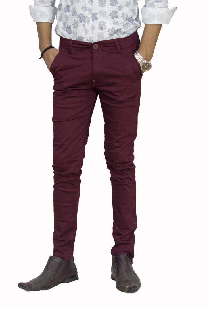 Men's Maroon Cotton Mid-Rise Formal Trouser - vezzmart