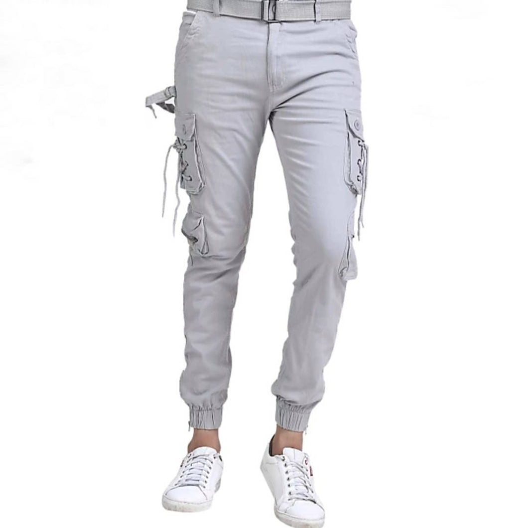 Men's Grey Cotton Solid Regular Fit Cargo - vezzmart