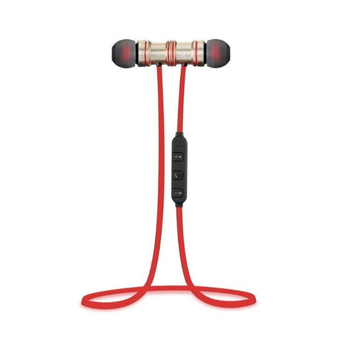 Magnetic Sports |Bluetooth| Wireless Earphone with Immersive/Stereo Sound/and Hands Free Mic-Red - vezzmart