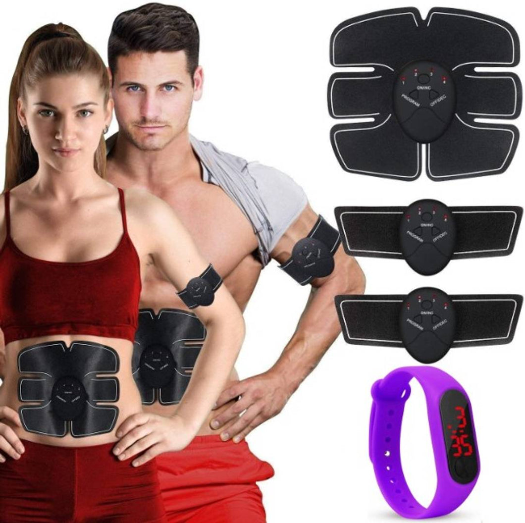 6 pack abs stimulator/Wireless Abdominal and Muscle Exerciser Training Device Body Massager With Sport Watch - vezzmart