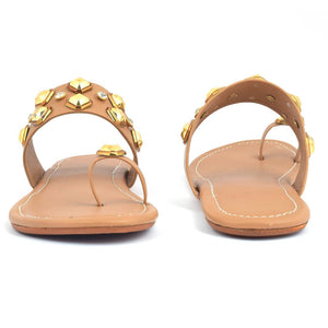 Elegant Tan Solid Synthetic Slippers For Women - vezzmart