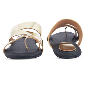 Elegant Golden Solid Synthetic Slippers For Women - vezzmart