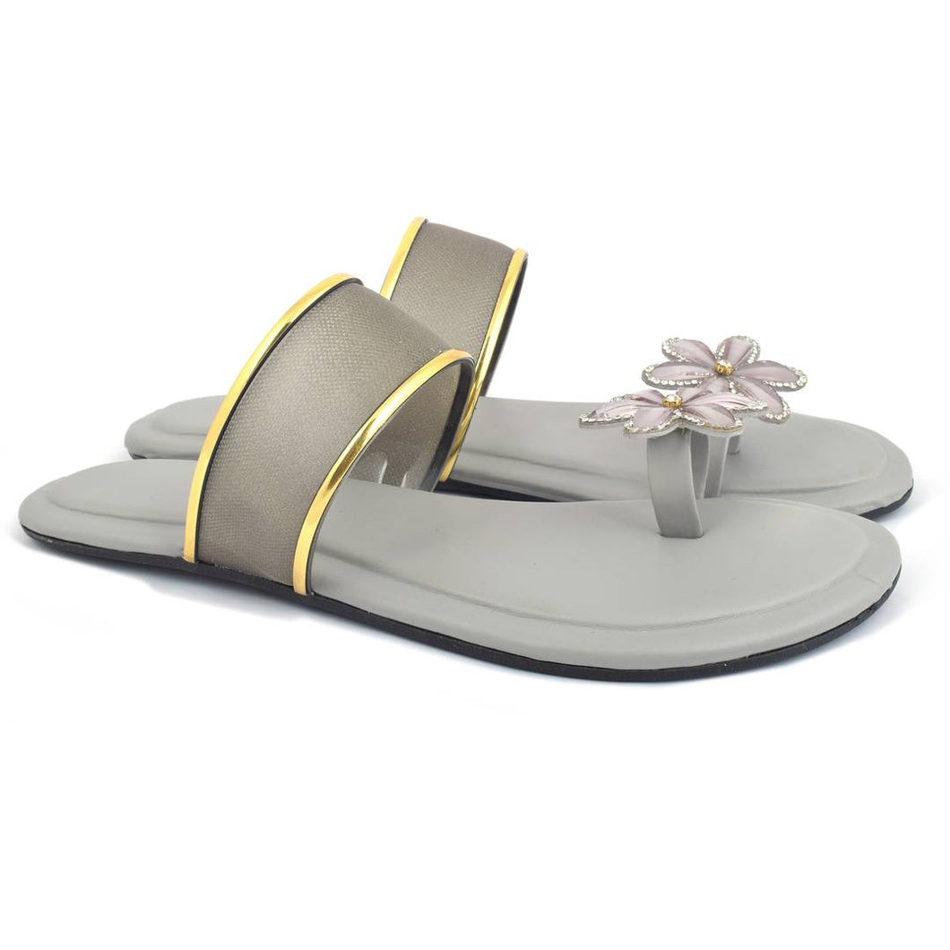 Elegant Grey Solid Synthetic Slippers For Women - vezzmart