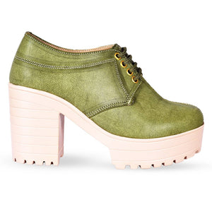 Women Trendy Green Synthetic Solid Heeled Boots - vezzmart