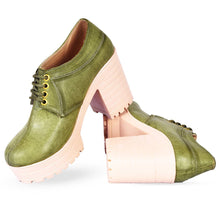 Load image into Gallery viewer, Women Trendy Green Synthetic Solid Heeled Boots - vezzmart