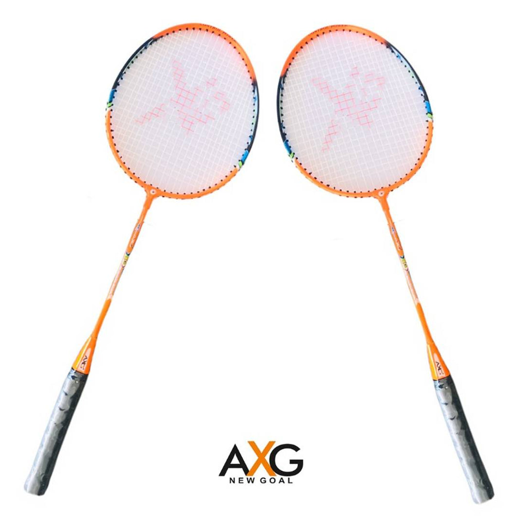 AXG New Goal AX-8 Stylish swing Orange, Black Strung Badminton Racquet  (Pack of: 2, 100 g) - vezzmart