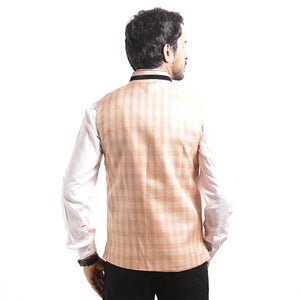 Men's Orange Checked Blended Nehru Jacket - vezzmart