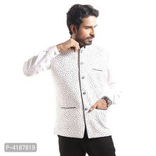 Load image into Gallery viewer, Men's Off White Printed Blended Nehru Jacket - vezzmart