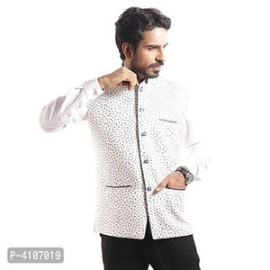 Men's Off White Printed Blended Nehru Jacket - vezzmart
