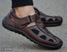 Load image into Gallery viewer, Men's Brown Synthetic Comfort Sandal - vezzmart