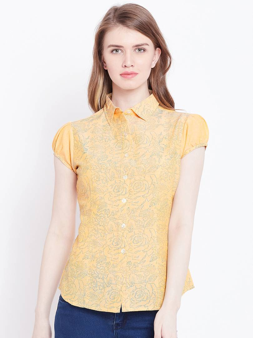 Stylish Cotton Golden Printed Top For Women - vezzmart
