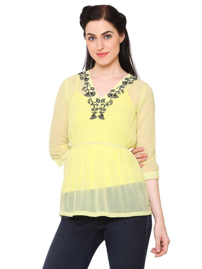 Stylish Cotton Yellow Solid Top For Women - vezzmart