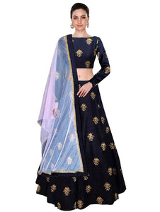 Women's Multicoloured Art Silk Lehenga Cholis - vezzmart