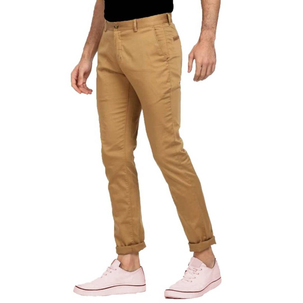 Stylish Copper Cotton Blend Solid Chinos Mid-Rise Trouser For Men - vezzmart