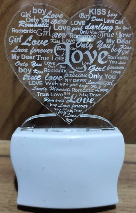 Love Heart Night Lamp with 7 Colour Changing 9 cm (Multicolour, Pack Of 1) - vezzmart