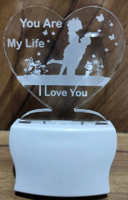Love You are my Life Couple Night Lamp with 7 Colour Changing 9 cm (Multicolour, Pack Of 1) - vezzmart
