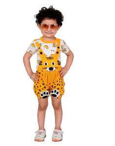 Kid'sTrendy and Stylish  Yellow Printed Regular Dungarees - vezzmart