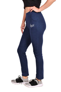 Women's Dark Blue Cotton Blend Regular Track Pant - vezzmart