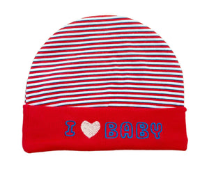 Baby Unisex Mitten Cotton Cap and Booty Set (Red) - Pack of 1 - vezzmart