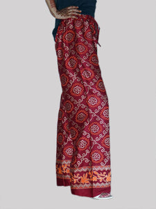 Women's Beautiful Maroon Printed Cotton Palazzo - vezzmart