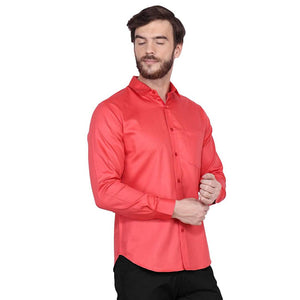 Men's Peach Regular Fit Cotton Full Sleeves Shirt - vezzmart