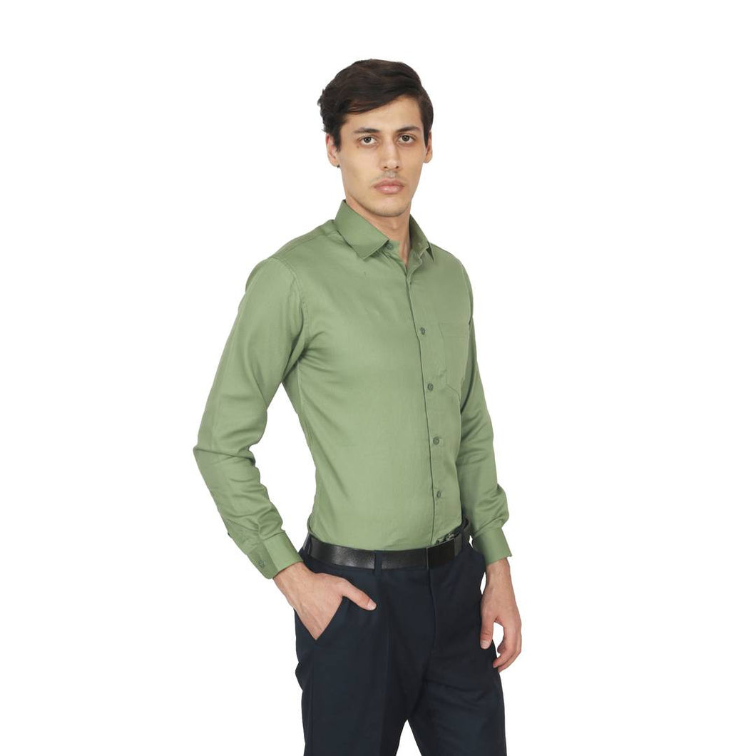 Dark Green Solid Full Sleeves Formal Shirt - vezzmart