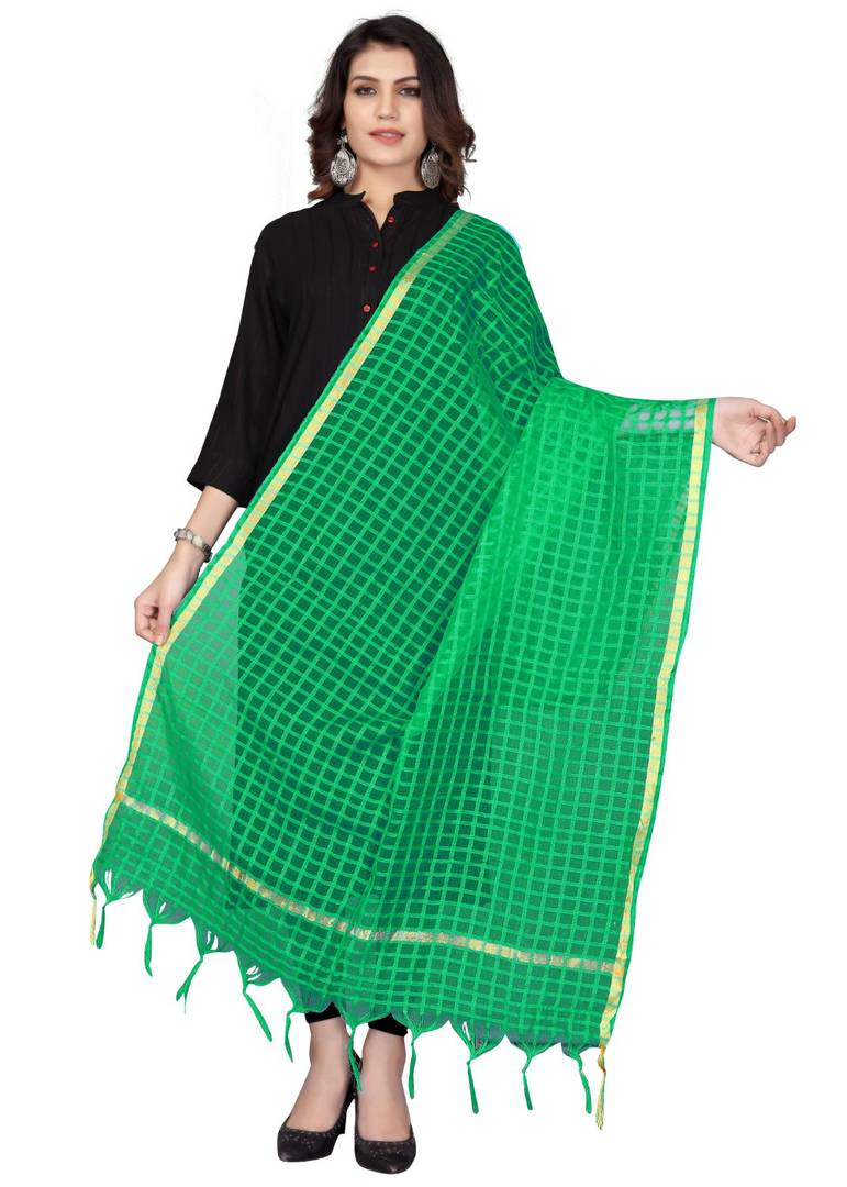 Green Cotton Silk Solid & Self Design Dupatta - vezzmart