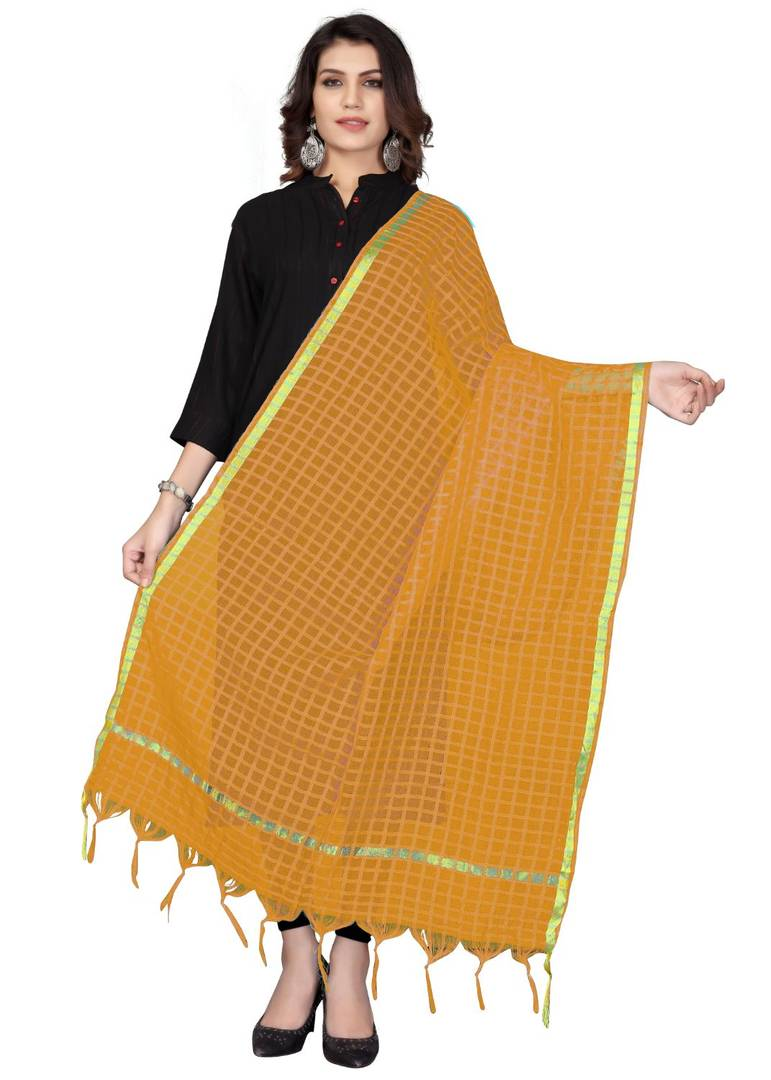 Yellow Cotton Silk Solid & Self Design Dupatta - vezzmart