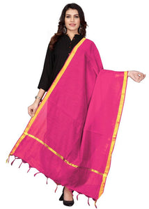Pink Cotton Silk Solid & Self Design Dupatta - vezzmart