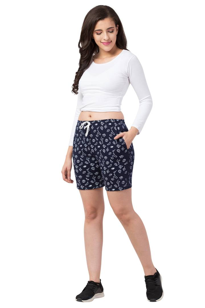 Trendy Cotton Blend Printed Shorts For Women - vezzmart