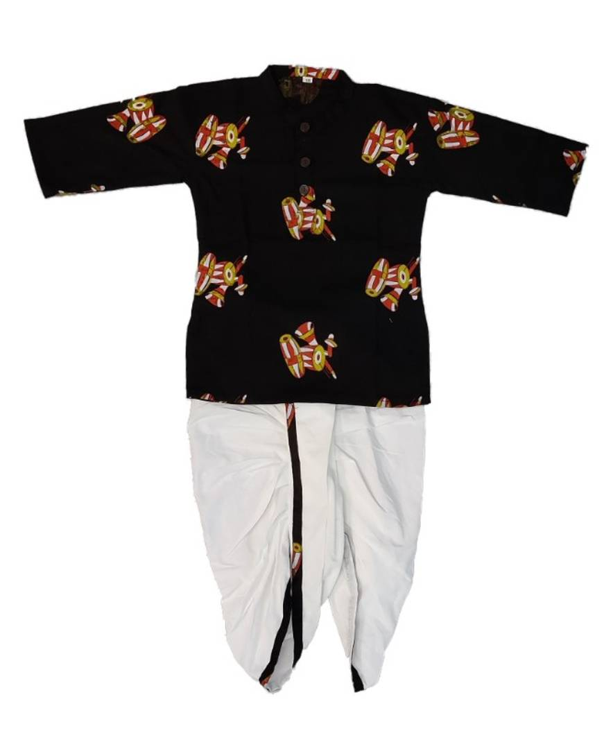 Faboulous Dambroo Print Dhoti Kurta Set For Boys - vezzmart