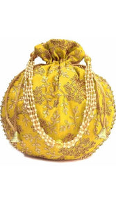 Lovely yellowRajasthani Style trendy Potli with heavy embroidery and vibrant colors - vezzmart
