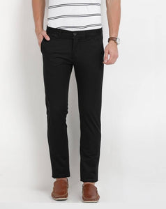 Black Regular Fit Solid Casual Trouser - vezzmart
