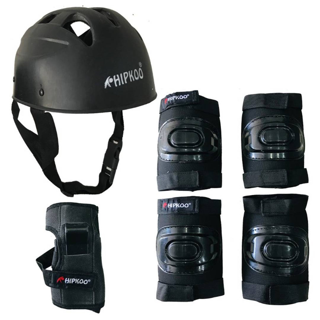 Rider Skating Protective Set With Elbow, Knee, Wrist Guards And Helmet (Medium) - vezzmart