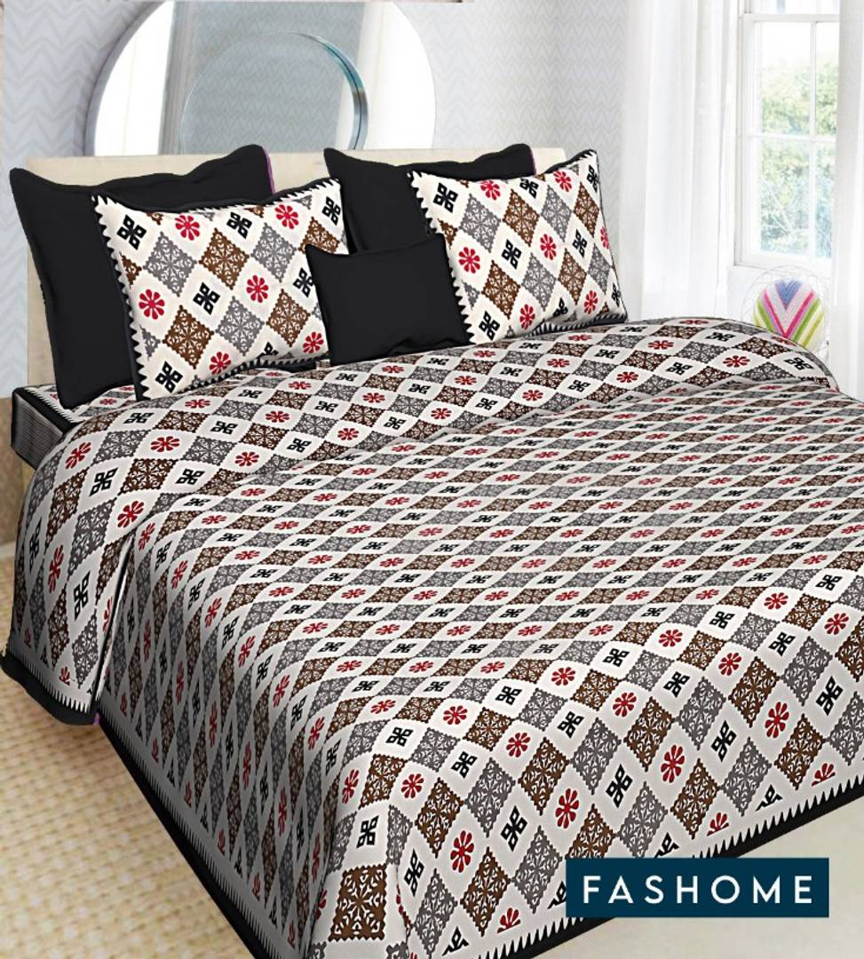 Beautiful FasHome King Size Cotton Bedsheet with 2 Pillow Cover (90'x108') - vezzmart