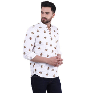 Stylish White Cotton Printed Casual Shirt For Men - vezzmart