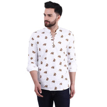 Load image into Gallery viewer, Stylish White Cotton Printed Casual Shirt For Men - vezzmart