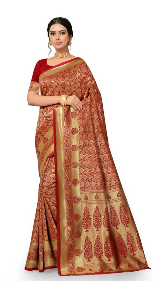 Beautiful Red Silk Blend Woven Design Saree With Blouse Piece - vezzmart