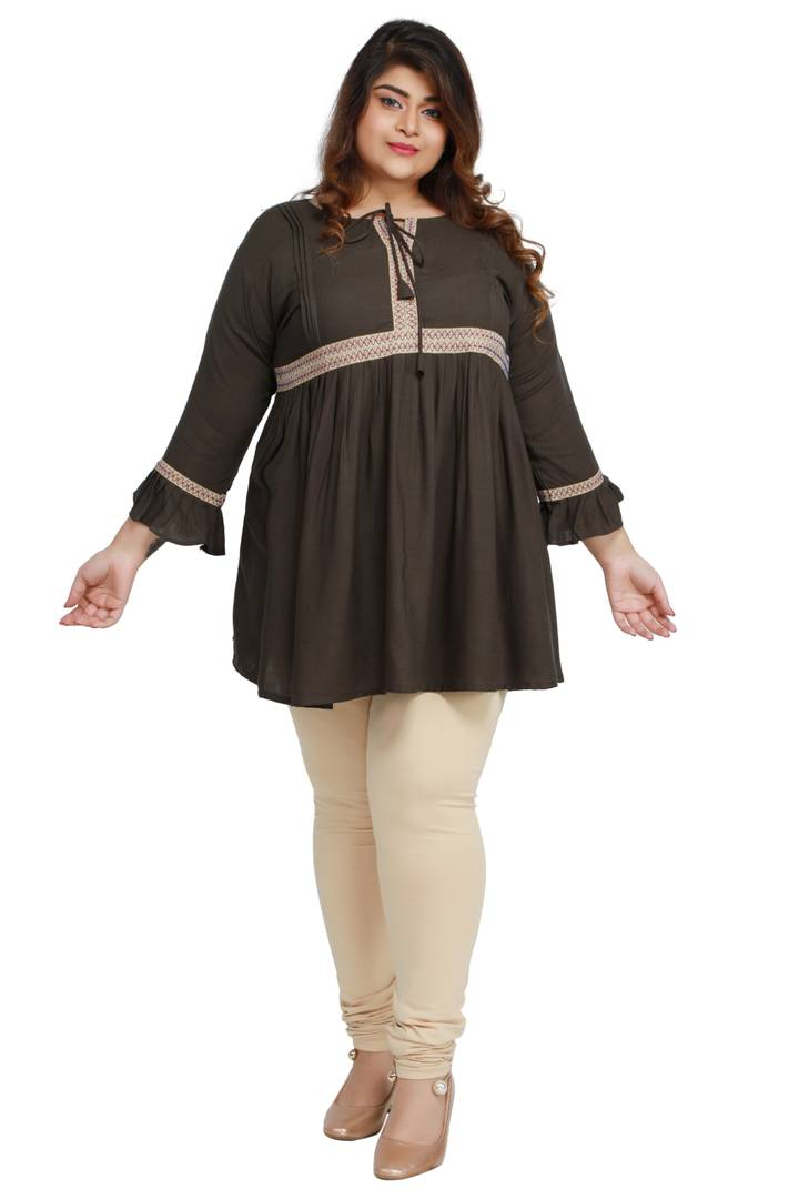 Stylish Grey Rayon Cotton Slub Flaired Plus Size Top For Women - vezzmart