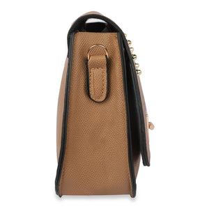 Women's Regular Size Embellished Brown Leatherette Sling Bags - vezzmart