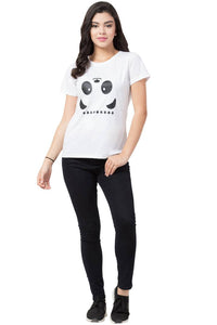 Stylish White Cotton Blend Printed T-Shirt For Women - vezzmart