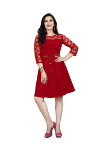 Women's Stylish and Trendy American Crepe Dress With Free Belt - vezzmart