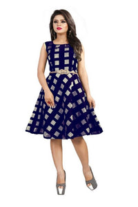 Women's Stylish and Trendy Modal Chanderi Dress With Free Belt - vezzmart