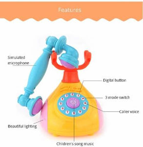Little Joy Retro Style Landline Telephone Musical Phone Toy for Kids with Light and Sound Effects  (Multicolor - vezzmart