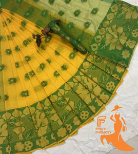 Jacquard Banarasi Cotton Silk Saree with Blouse Piece - vezzmart